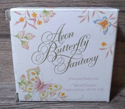 Vintage 1979 Avon Butterfly Fantasy 22k Trim Dishes and 3oz Soap Gift Se... - $15.84