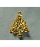 Vintage Textured Leaves Gold Balls Christmas Xmas Tree in Flower Pot Pin... - $12.99