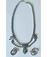 Beautiful VINTAGE Demi-Parure Icy Blue Rhinestone Necklace & Earring Set - £32.12 GBP