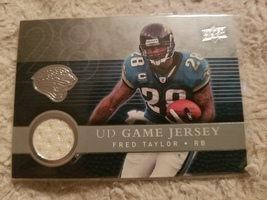 FRED TAYLOR 2008 UD FOOTBALL GAME JERSEY FOOTBALL CARD #UDGJ-FT  - $25.00