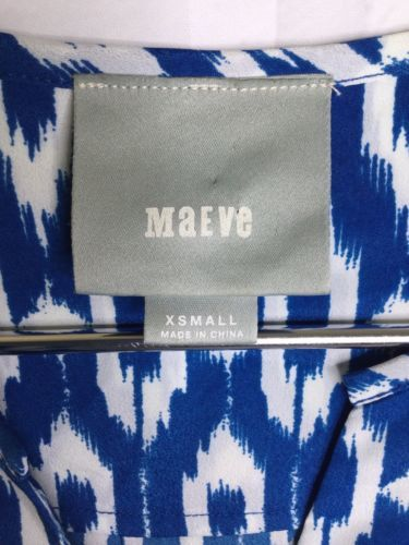 Maeve Anthropologie Womens XS Blue White Ikat Print Tunic Shirt Shift Dress