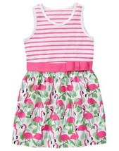 Gymboree Fruit Punch Striped and Flamingo Print Dress Ribbon NWT Pink Green - $17.99