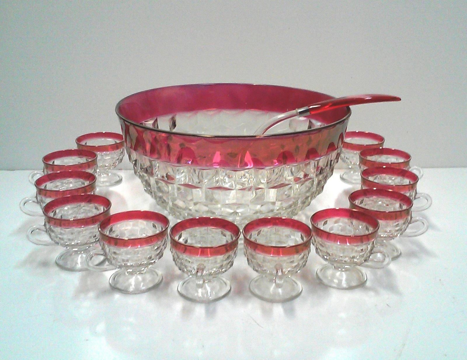 Vintage Cranberry Glass Punch Bowl Set of 14