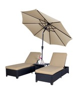 Outdoor 4PC Patio Wicker Rattan Chaise Lounge Chairs with 9' Umbrella Ad... - $459.98