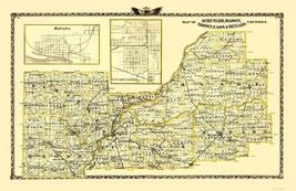 Schuyler Mason Brown Cass Menard Illinois  - Warner 1870 - 23.00 x 35.42 - $36.58+