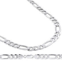 14k White Gold Finish Over Solid Sterling Silver 9.5 mm Figaro Chain, 16... - $126.00+