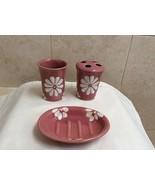 Bathroom Set includes Soap Dish, Tumbler, Toothbrush Set Pink Ceramic. - $5.95