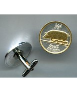 "Irish ½ penny ""Pig & piglets"" Gold on silver, Coin Cufflinks - $86.00"