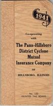 1940 Pocket Calendar Booklet - Sales Sample - Pana-Hillsboro Cyclone Ins... - $7.50
