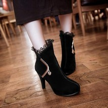 87955 Elegant Lace booties w golden bar,  pu leather, Extra size (32-43), black - $104.00