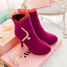 87955 Elegant Lace booties w golden bar,  pu leather, Extra size (32-43), rosary - $104.00