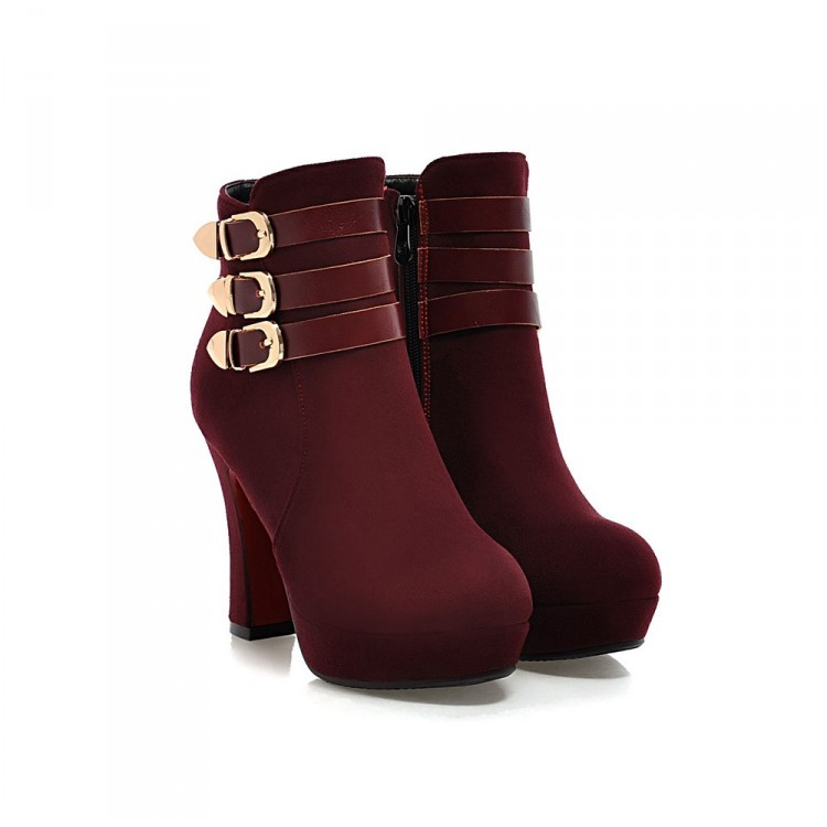 69575 Elegant Buckles booties, pu suede leather, Size 33-40, red - $117.00
