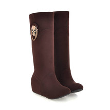 12150 Sweet high-heeled booties w skull decoration, size 33-43, bown - $97.00