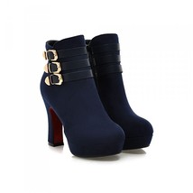 69575 Elegant Buckles booties, pu suede leather, Size 33-40, blue - $117.00