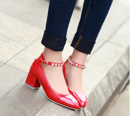 Primary image for 13855 Elegant bow pumps, thick & high heels, pu leather, Extra size (32-43), red