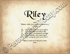 Riley Hidden Within Your Name Is A Special Story Letter Poem 8.5 x 11 Print - $8.95