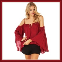 Bohemian Gypsy Damsel Off Shoulder Strap Flared Long Sleeved Gauze Loose Blouse