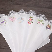 Embroidered Butterfly Lace Flower Hankies 6PCS Vintage Cotton Women Napk... - $18.30