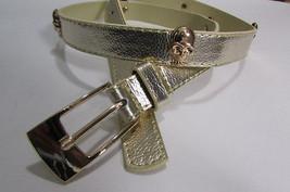 "New Women Faux Leather Fashion Belt Gold Metal Skulls Medium 31""-37"" Gold Brown - $9.99"