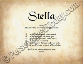 Stella Hidden Within Your Name Is A Special Story Letter Poem 8.5 x 11 P... - $8.95