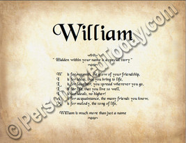 William Hidden Within Your Name Is A Special Story Letter Poem 8.5 x 11 ... - $8.95