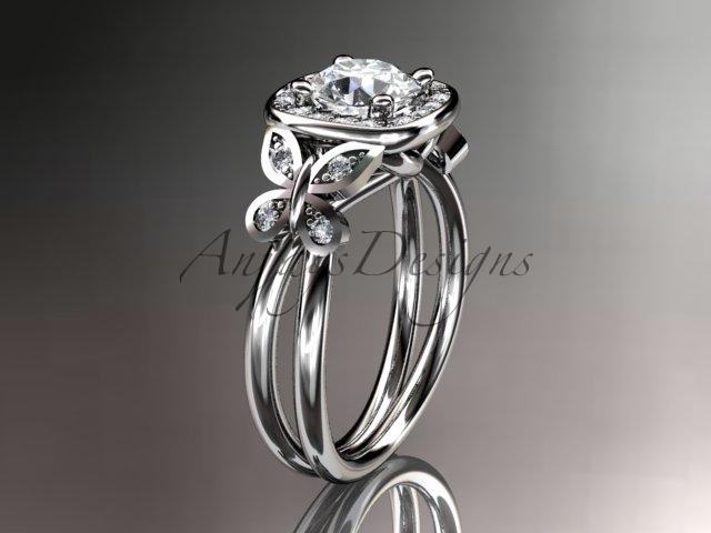 Leafring330 white gold  platinum  diamond wedding ring  diamond engagement ring  forever brilliant moissanite  1