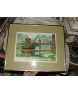 Country WATERCOLOR by M. St. Martin Geranium Wooden Bucket Fence Pasture - $235.00