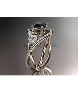 Unique 14kt rose gold moissanite engagement ring, black diamond stone AD... - $2,270.00