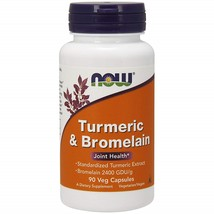 NOW Supplements, Turmeric & Bromelain 2400 GDU/g, 90 Veg Capsules - $52.87