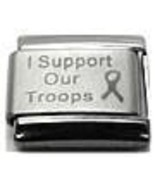 9mm I Support Our Troops Military Laser Italian Charm (LA0001)