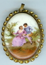 Vintage  Painted Porcelain Brooch Man Lady 1900? - $30.00