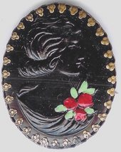Antique Brooch Mourning Pin Jet Black Early Cameo 1890? - $24.00