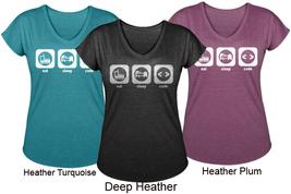 Women's V Neck Tri Blend T Shirt Eat Sleep Code Programming - $29.99