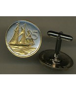 "Cayman Islands 25 cent ""Sail boat"", 2 Toned Gold on Silver Coin Cufflinks - $92.00"