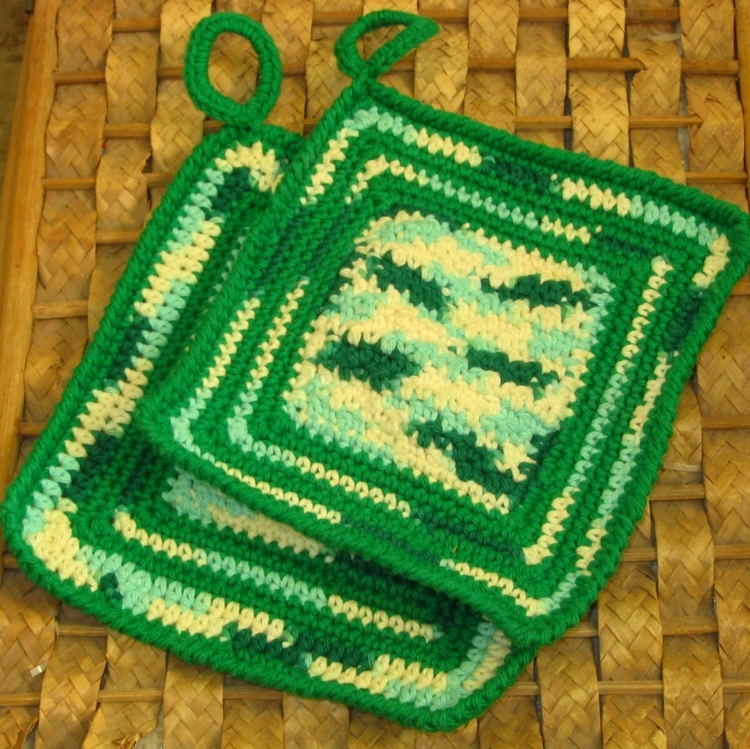 Hanging Kitchen Potholder Set in Artistic Mix of Greens by RSS Designs In Fibers