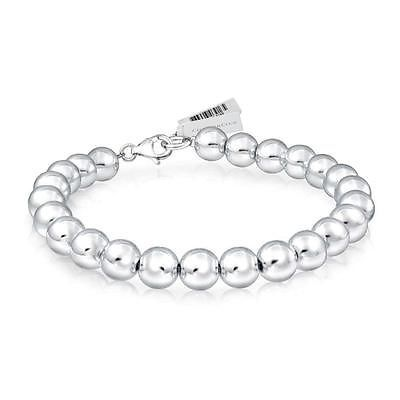 NEW CHARTER CLUB SILVER TONED BEAD BEADED BRACELET 8MM