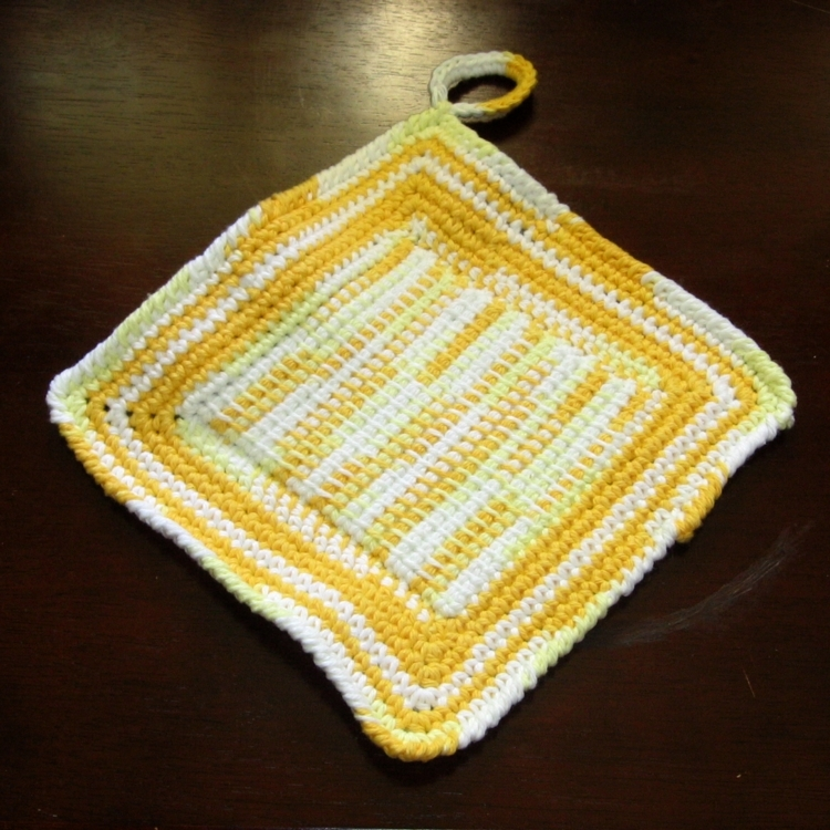 Yellows Hanging Kitchen Potholders in Tunisian Crochet by RSS Designs In Fibers