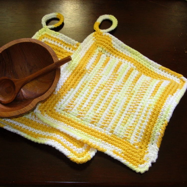 Yellow ombre pair of pot holders tunisian center w prop sq img 3673 af 750x 96
