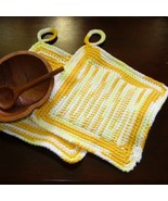 Yellows Hanging Kitchen Potholders in Tunisian ... - $14.00