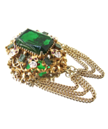 Vintage Florenza Victorian Revival Green Rhines... - $38.00