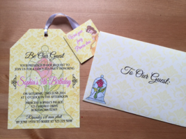Beauty and the Beast Tea Party Invitation & Matching Envelope, Any Occasion - £1.06 GBP