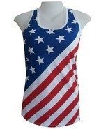 dg Lady Tank Top Shirt AMERICAN Flag NEW YORK CASUAL Beach USA Summer Co... - £9.17 GBP