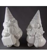 White Porcelain Garden Gnome Figurines Male & F... - $31.99