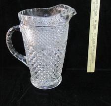 "Pitcher Water Juice Large Anchor Hocking Wexford Pedestal Base 9.5"" Diamond - $21.77"