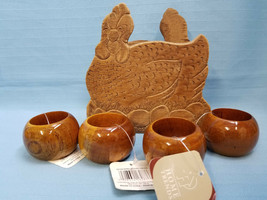 Vintage Wood Hen Napkin Holder & 4 New Napkin Rings Dinning Table Decor ... - $19.99