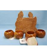 Vintage Wood Hen Napkin Holder & 4 New Napkin Rings Dinning Table Decor ... - $19.99