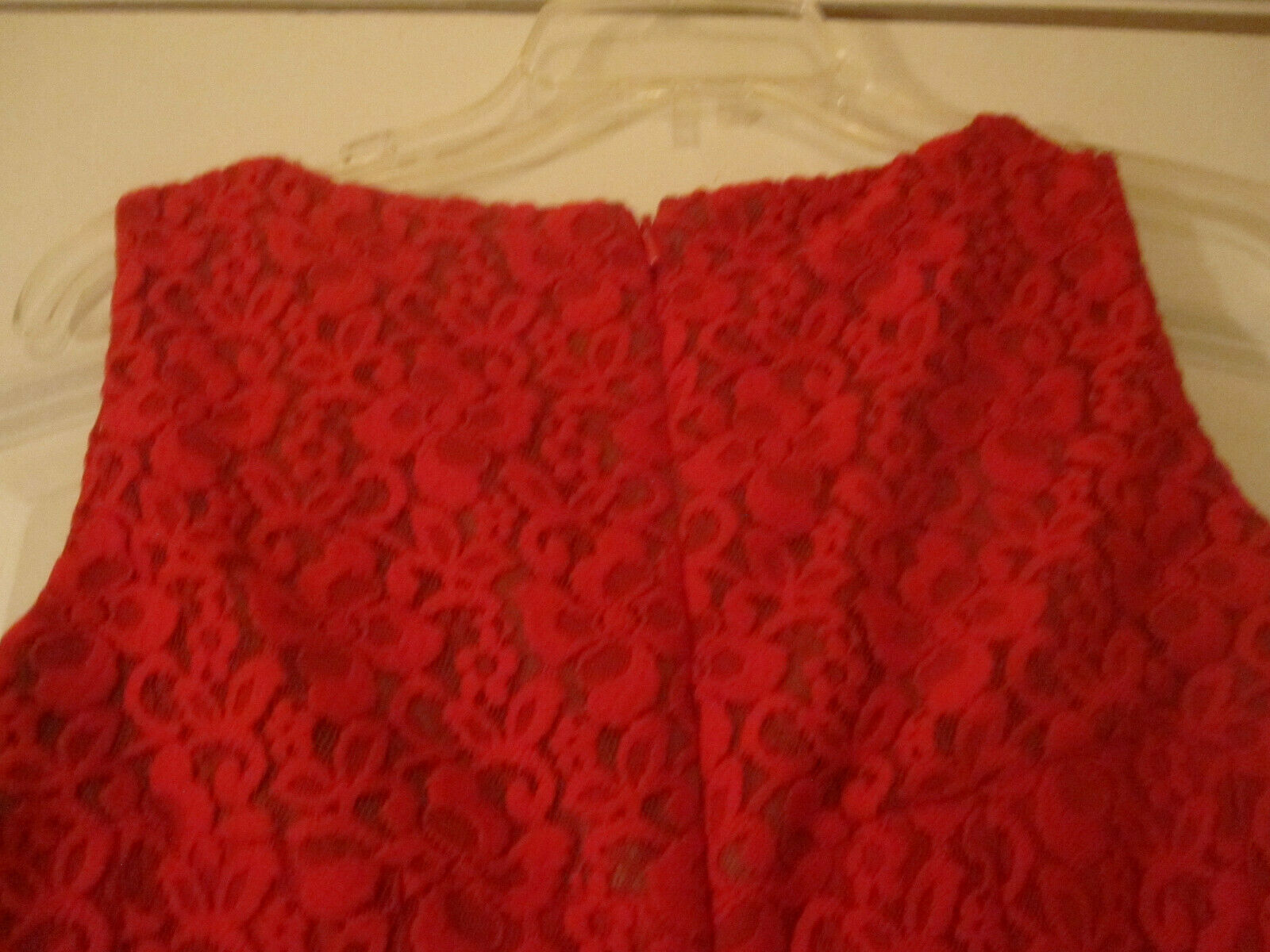Anne Klein Womens Red Crochet Dress Lined Sleeveless Size 2 image 5