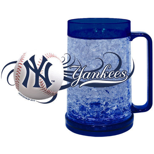 NEW YORK YANKEES 16 OZ CRYSTAL FREEZER MUG MLB BASEBALL KEEPS DRINK ICY COLD!