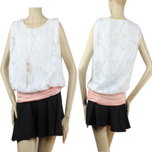 Shorsleeve Double layered See Through BLOUSE Stretch Lining Cute Casual ... - $19.99