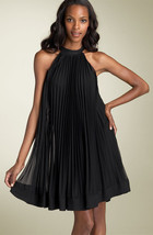 ECI NY ACCORDIAN PLEATED MESH TRAPEZE DRESS  - US 8 - UK 12 - $136.07